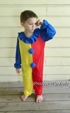 HALLOWEEN Circus Clown Juggler Party Unisex Costume Cosplay Fun Wear 4 Kids 2-8Y