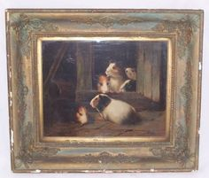 Late 19th century, early 20th century oil painting of Guinea Pigs by H S Marks.