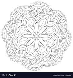 Adult coloring bookpage a zen mandala image for vector image on VectorStock Coloring Book Art, Mandala Coloring, Colouring Pages, Adult Coloring Pages, Geometric Mandala Tattoo, Mandala Tattoo Design, Creative Haven Coloring Books, Trippy Drawings, Mandala Art Lesson