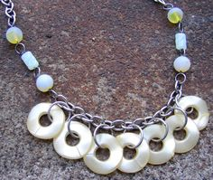 Lemon Zest Necklace $24.00 - handmade using recycled vintage chain and beads including pale yellow pearlized wavy hoops - eco-friendly, boho, summer chic