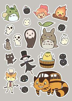 Cute Animal Drawings Kawaii, Cute Little Drawings, Kawaii Drawings, Kawaii Art, Cute Drawings, Totoro, Studio Ghibli Art, Studio Ghibli Movies, Anime Stickers