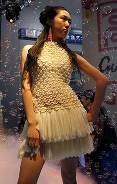 A lovely dress made out of condoms. I am at a loss for words.