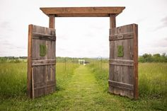 Rustic barn door wedding decor is quickly becoming the new wedding trend! love the moss initial details. doors and weddings. Rustic Wedding Backdrops, Barn Wedding Decorations, Wedding Ceremony Backdrop, Wedding Ideas, Trendy Wedding, Outdoor Ceremony, Diy Wedding, Wedding Inspiration, Wedding Reception