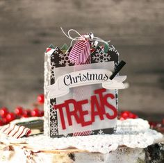 Christmas Treats by Laurie Schmidlin. Reverse Confetti stamp sets: Bring on the Merry and Beautiful Banners. Confetti Cuts: Treat Tote and Beautiful Banners. Christmas packaging.