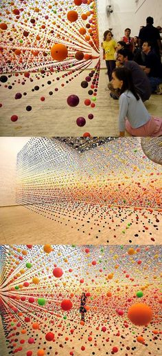 "Bouncy Ball Installation by Nike Savvas ""Atomic: Full of Love, Full of Wonder"" by Nike Savvas.""Atomic: Full of Love, Full of Wonder"" by Nike Savvas. Land Art, Street Art, Instalation Art, Wow Art, Art Plastique, Public Art, Oeuvre D'art, Sculpture Art, Metal Sculptures"