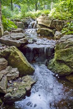 Aquascape is the leading manufacturer of water features, water garden, pondless fountains, and pond products. Get your water feature from Aquascape! Backyard Stream, Garden Stream, Backyard Water Feature, Ponds Backyard, Backyard Waterfalls, Garden Ponds, Koi Ponds, Water Falls Garden, Rain Garden
