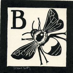 ARTFINDER: B is for Bee by Stephen Duffy - B is for Bee linocut designed and hand printed by Steve Duffy in his Sussex studio.These prints were originally made to help my son,Freddie,to help him learn...