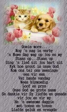 Goeie more Good Morning Good Night, Good Morning Wishes, Good Morning Quotes, Evening Greetings, Simply Life, Afrikaanse Quotes, Goeie More, Morning Blessings, Birthday Greetings