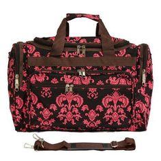 World Traveler Damask II 19 in. Shoulder Duffel Bag Brown Pink Damask ll - 81T19-632, Durable