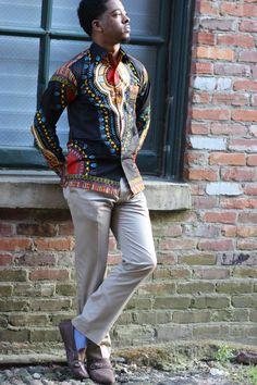 Black Dashiki For Men's African dashiki shirts men by Quistt