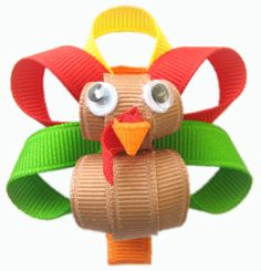 Hip Girl Boutique Turkey Hair Bow Clips Instruction - Hip Girl Boutique Free Hair Bow Instructions--Learn how to make hairbows and hair clips, FREE! Thanksgiving Hair Bows, Thanksgiving Crafts, Fall Crafts, Holiday Crafts, Crafts For Kids, Ribbon Art, Ribbon Crafts, Turkey Bow, Art Textile