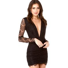Europe and America style women sexy deep V-neck dress with eyelash lace decoration long-sleeved dress slim spring summer CD1873