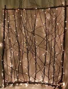 Lighted twig screen....for indoors or out.