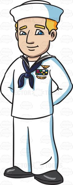 A navy man in his white sailor uniform #cartoon #clipart #vector #vectortoons #stockimage #stockart #art