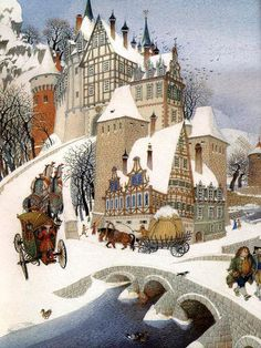 Gennady Spirin [Russian painter and childrens book illustrator,born Art And Illustration, Art Illustrations, Illustration Children, Winter Szenen, Art Brut, Snow Scenes, Naive Art, Christmas Art, Land Scape