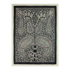 NOVICA Indian Madhubani Style Folk Art Painting of Peacocks ($170) ❤ liked on Polyvore featuring home, home decor, wall art, black and white, madhubani, paintings, novica home decor, leaf wall art, peacock home accessories and novica paintings