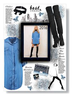 """""""2016 Trends"""" by mmk2k ❤ liked on Polyvore featuring Givenchy, Boohoo, Fallon, Design Inverso, denim, shirtdress, choker, OverTheKneeBoots and besttrend2016"""