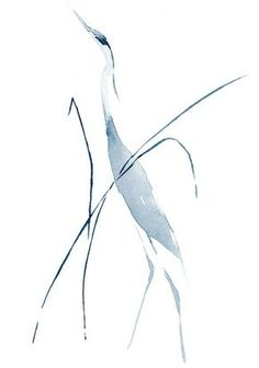 Heron In Grass – Limited Edition Print Sumi E Painting, Chinese Painting, Chinese Art, Watercolour Painting, Watercolor Portraits, Watercolours, Watercolor Projects, Watercolor Bird, Watercolor Landscape