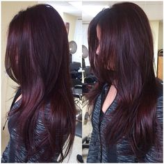 Are you looking for Dk Brown Purple Burgundy hair color hairstyles? See our collection full of Dk Brown Purple Burgundy hair color hairstyles and get inspired! Hair Color And Cut, Hair Color Dark, Cool Hair Color, Color Red, Burgundy Colour, Burgundy Bob, Ombre Colour, Ombre Burgundy, Dark Brown Purple Hair