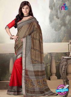 Brown and Red Printed Cotton Designer Saree Cotton Sarees Online Shopping, Silk Sarees Online, Cotton Silk, Printed Cotton, Net Saree, Anarkali Dress, Bollywood Saree, Printed Sarees, Saree Collection