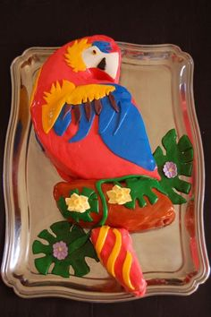 Parrot Cake Yellow cake with raspberry filling and MMF Bird Cakes, Cupcake Cakes, Adult Birthday Cakes, Birthday Parties, Birthday Ideas, Australia Cake, Rainforest Birds, Pirate Parrot, Pool Cake