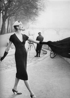 Anne Sainte-Marie wearing Christian Dior, Paris 1955.  Photo by Henry Clarke.