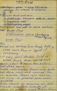 Bread From my mom's recipe collection.From my mom's recipe collection. Retro Recipes, Old Recipes, Vintage Recipes, Cookbook Recipes, Bread Recipes, Cooking Recipes, Recipies, Bread Bun, Bread Rolls