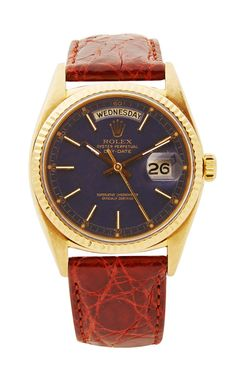 Vintage Rolex 18K Day-Date President In Blue With Brown Crocodile Band by CMT Fine Watch and Jewelry Advisors - Moda Operandi