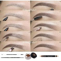 Ombre eyebrows routine using ' products Brow wiz in Brunette to outline Dipbrow Pomade in Chocolate to fill in - May 04 2019 at Eyebrow Makeup Tips, Makeup 101, Eye Makeup Steps, Skin Makeup, Eyeshadow Makeup, Makeup Brushes, Maquillage On Fleek, Easy Makeup Tutorial, Natural Eyebrow Tutorial