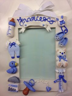 Blue Baby Born Frame: with space to write down birth date, weight and lenght - handmade with fimo -