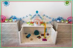 DIY from repurposed table (upside down) plus Habitrail OVO hamster house that goes around the entire room.look up her video#amazing how she thinks if stuff like this.