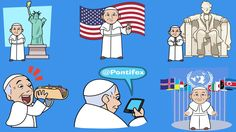 Language: Set of cartoons for messaging apps celebrates US visit by depicting Pontiff in variety of roles
