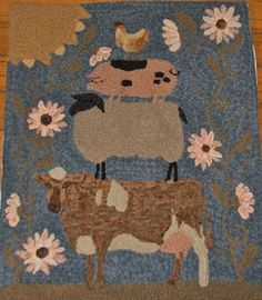 Hand drawn on either Monks Cloth or Linen. Rug Hooking Kits, Monks Cloth, Hand Hooked Rugs, Large Rugs, Rug Making, Farm Animals, Sheep, How To Draw Hands, Kids Rugs