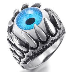 MunkiMix Edelstahl Harz Ring Silber Schwarz Blau Weiß Schädel Drachen Klaue Böse Teufel Auge Gotik Motorradfahrer Herren