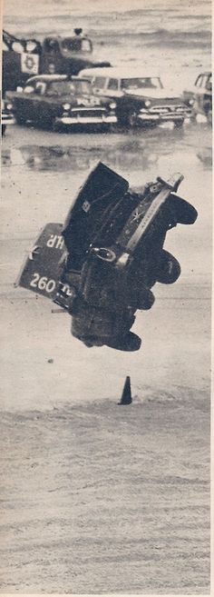 a real tumble . russ truelove rolls his mercury at daytona beach motorspeed 1958 Nascar Crash, Nascar Racing, Auto Racing, Nascar Room, Le Mans, Types Of Races, Ferrari, Old Race Cars, Dirt Track Racing