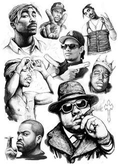 Super Ideas Tattoo Music Hip Hop Rap popular music is an element Hip Hop Tattoo, Big Tattoo, Biggie Smalls, Tattoo Musik, Mode Cyberpunk, Tupac And Biggie, Arte Do Hip Hop, Tupac Art, Rapper Art