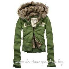 Doudoune Abercrombie   Fitch Capuche Fourrure Femme Verte Faux Fur Hoodie,  Fur Collar Jacket, bb56274352bf