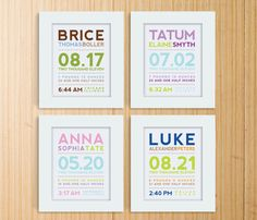 Love these! Custom birth info for wall.