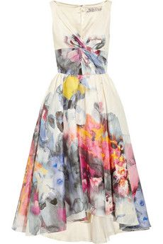 Lela Rose/Printed voile dress