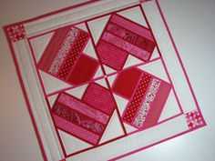 Quilted Table TopperRed and Pink Heart Stained by VillageQuilts, $40.00