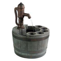 Whiskey Barrel Fountain Planter....super cool