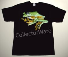 Frog drawing CUSTOM ART UNIQUE T-SHIRT   Each T-shirt is individually hand-painted, a true and unique work of art indeed!  To order this, or design your own custom T-shirt, please contact us at info@collectorware.com, or visit http://www.collectorware.com/tees-1animals.htm
