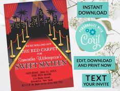 Red Carpet Themes Sweet 16 Invitation Sweet 16 Invitation | Digital INSTANT DOWNLOAD Editable Invite | Sweet Sixteen Birthday | Hollywood by PurplePaperGraphics on Etsy Sweet 16 Invitations, Printable Invitations, Birthday Party Invitations, Red Carpet Theme, Rose Gold Theme, Holy Communion Invitations, Sixteenth Birthday, Sweet 16 Parties, Photo Center