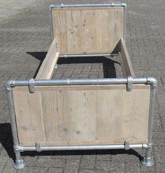 """1 persoons bed Kian met aluminium """"steiger"""" buizen - Bed 80 x 200"""