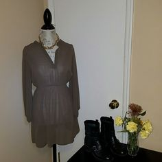 Light brrown sheer dress Light brown sheer dress! Super cute! BRAND NEW! HAS never been worn! Great to pair with cute heels or boots!:) Dresses