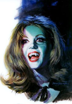 This may be my favorite art by Basil Gogos - Ingrid Pitt as Carla, The House That Dripped Blood. (1971).