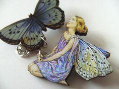 Fairy and Butterfly brooch lilac and grey wood by NewellsJewels, £6.00
