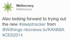 """Wellocracy (twitter.com/Wellocracy) tweeted: """" Also looking forward to trying out the new #sleeptracker from Withings nbcnews.to/KAN68A #CES2014 """" Learn more: http://www.withings.com/en/aura"""