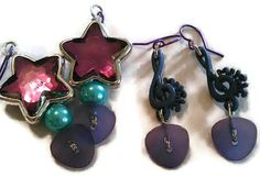 Rock On button earrings by CRAZYBUTTONDESIGNS13 on Etsy, $6.00