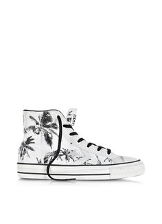Converse Limited Edition Star Player Ev High Top Optical White/Black Palms Printed Canvas and Leather Sneaker